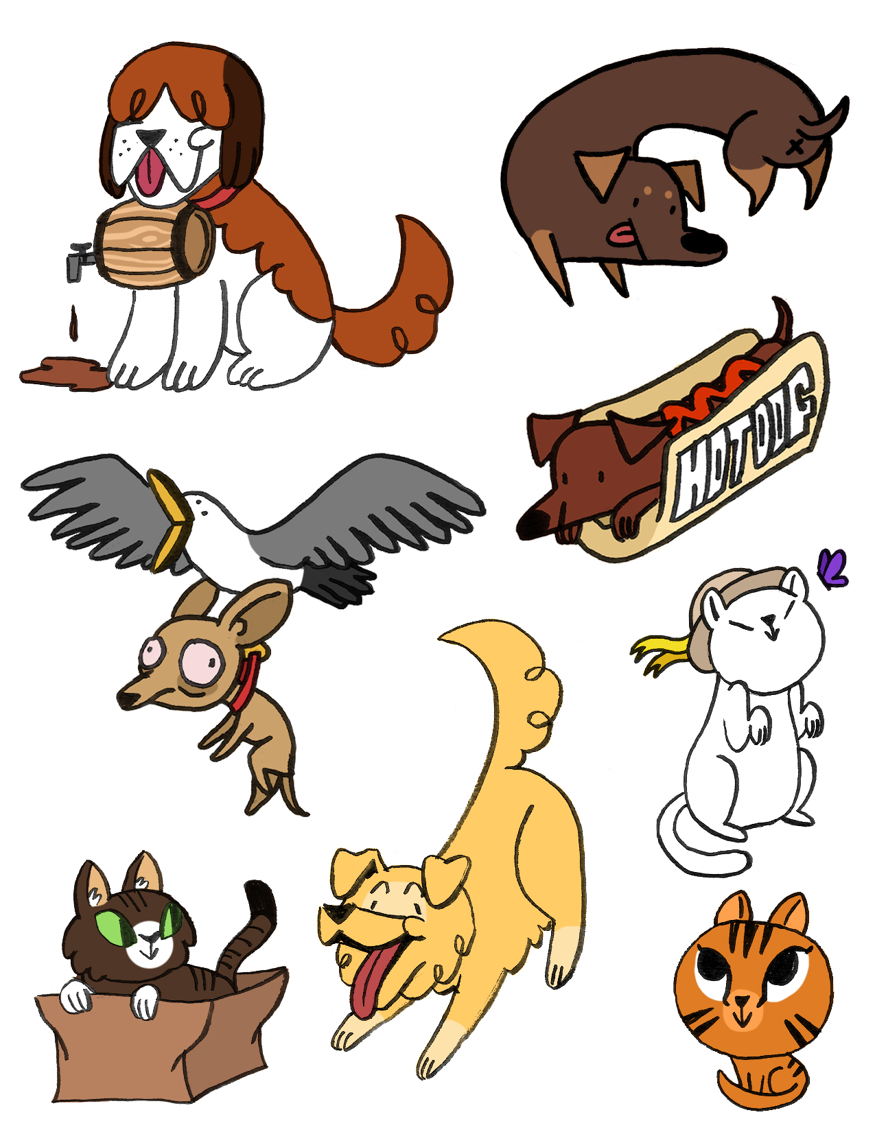 DOG AND CAT STICKERS