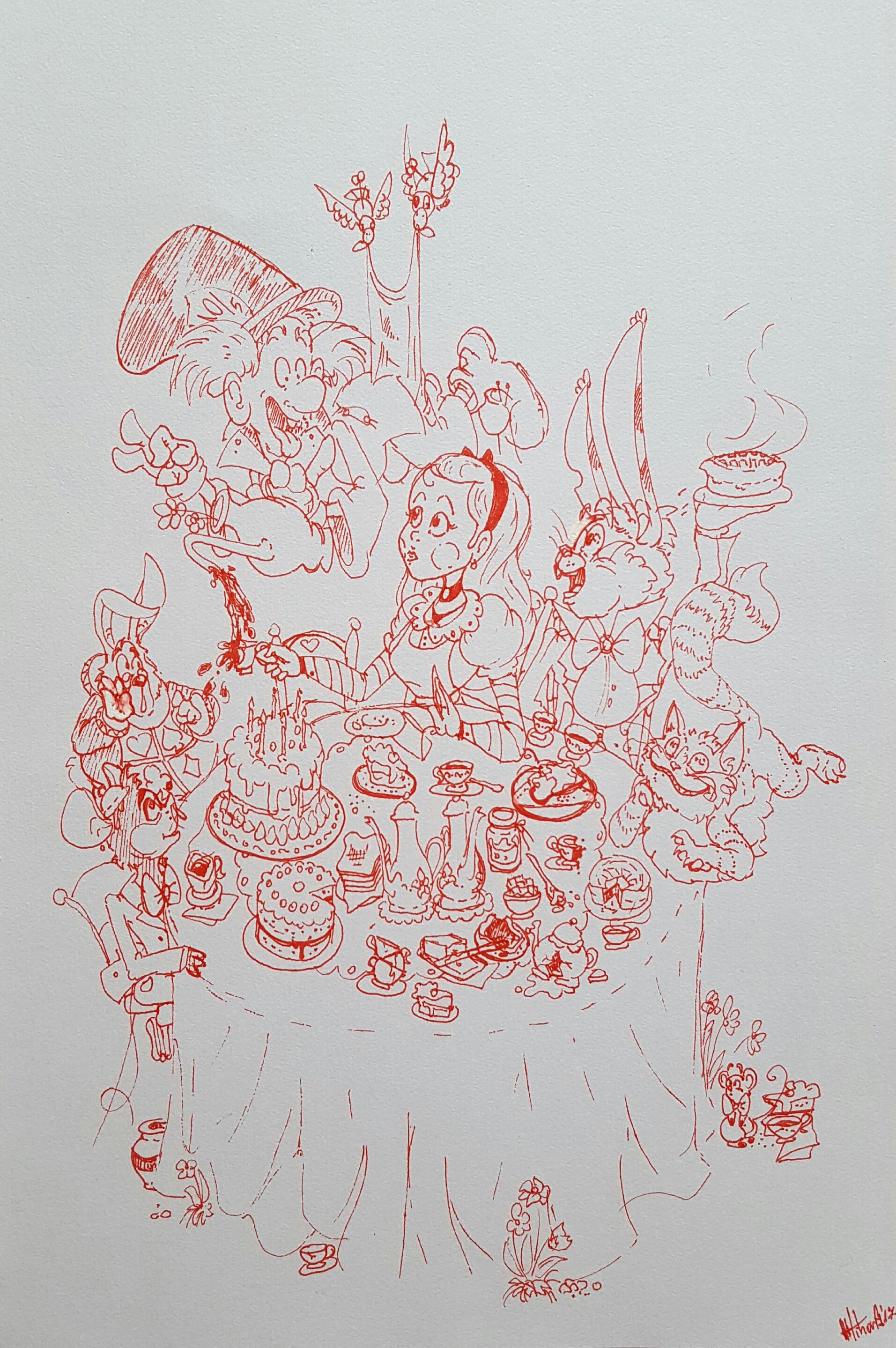 Alice in Wonderland-Mad Hatter's tea party (ink)