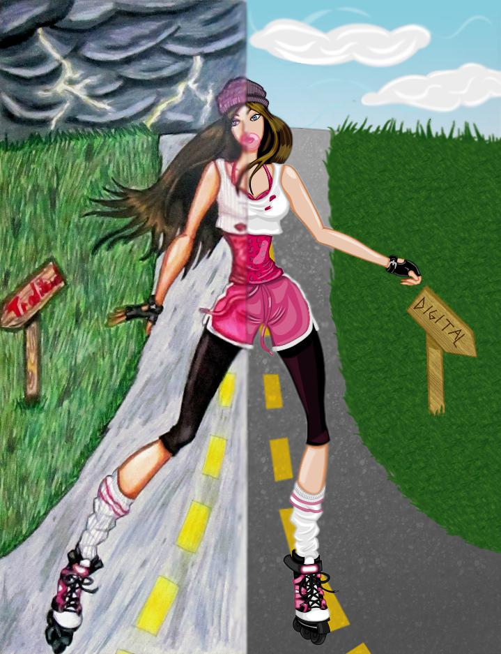 Tradigital Skater Girl