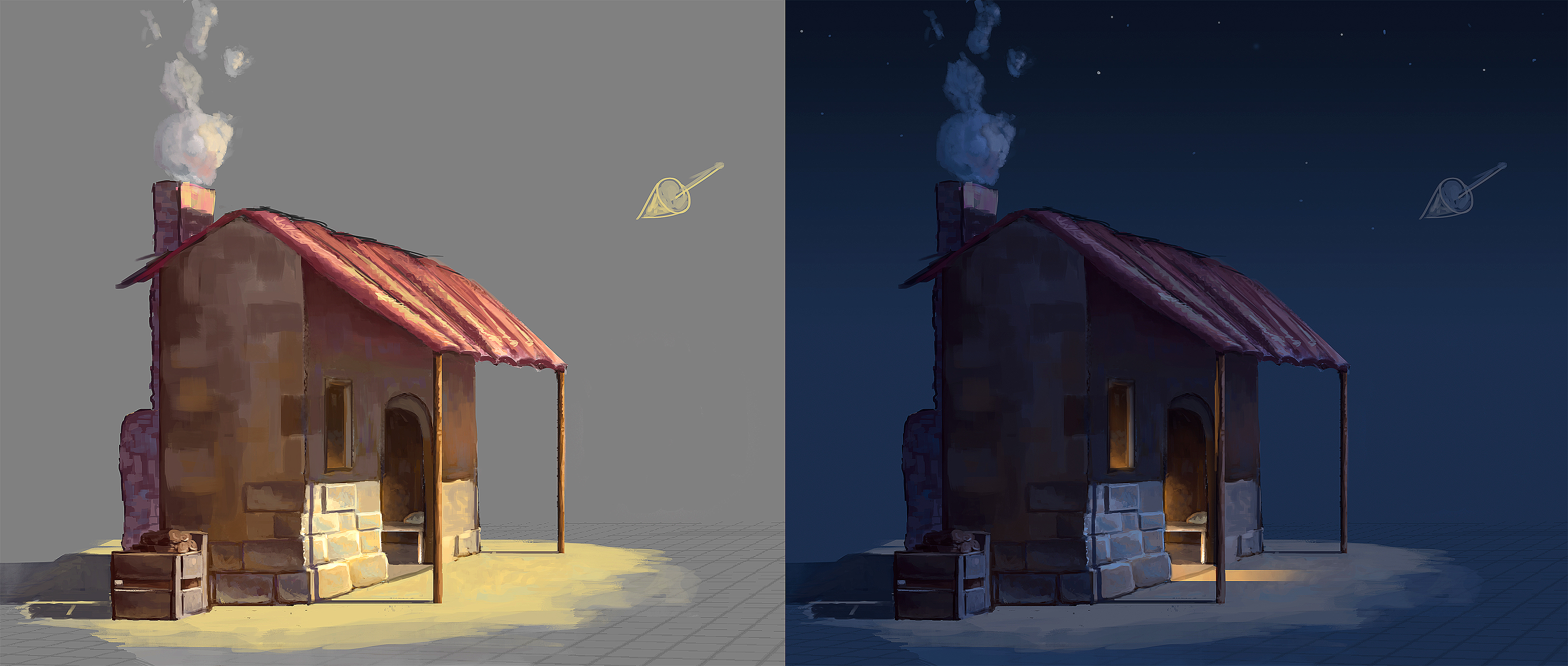 Tiny Peasant House - Concept - Day and night