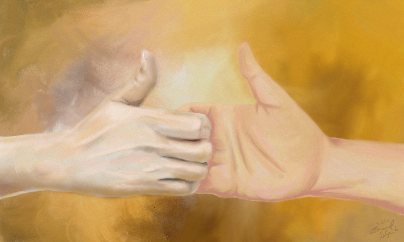 """Hand by hand""- Jazza's challenge of the month (Tradigital) entry"