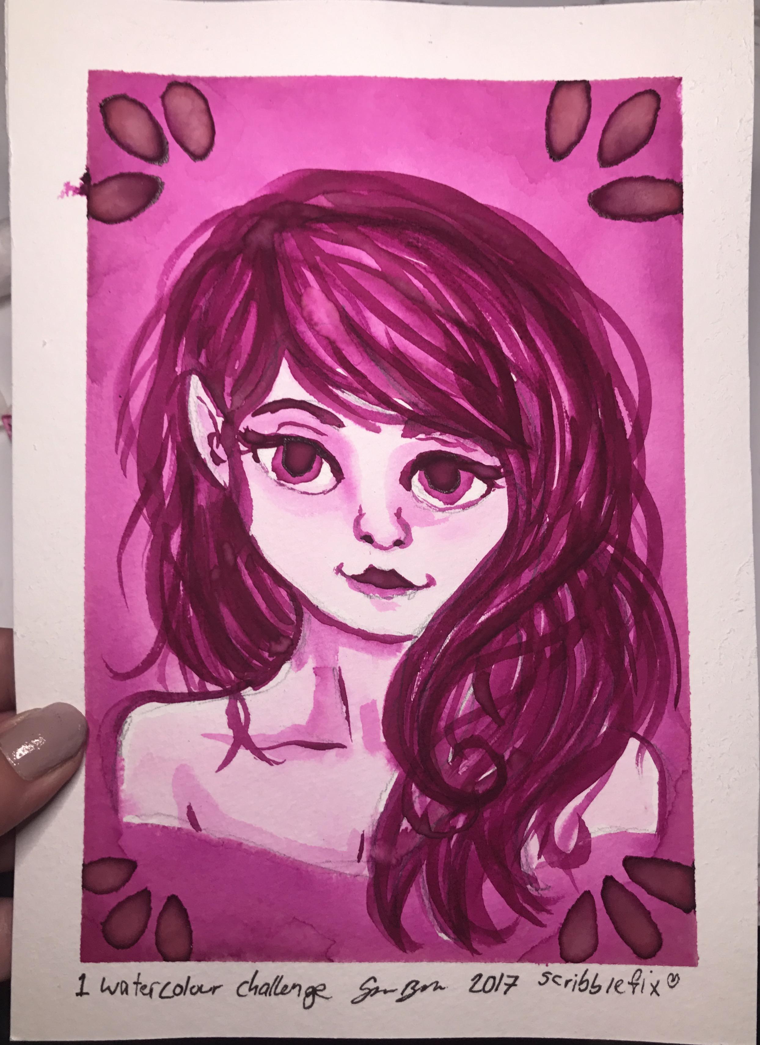 One watercolour challenge / Monochromatic Portrait