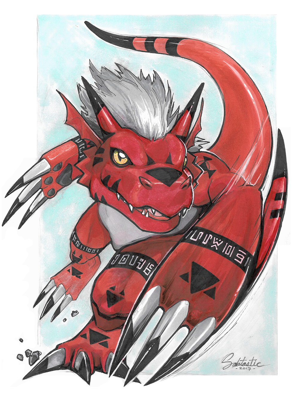 Growlmon Copic Commission