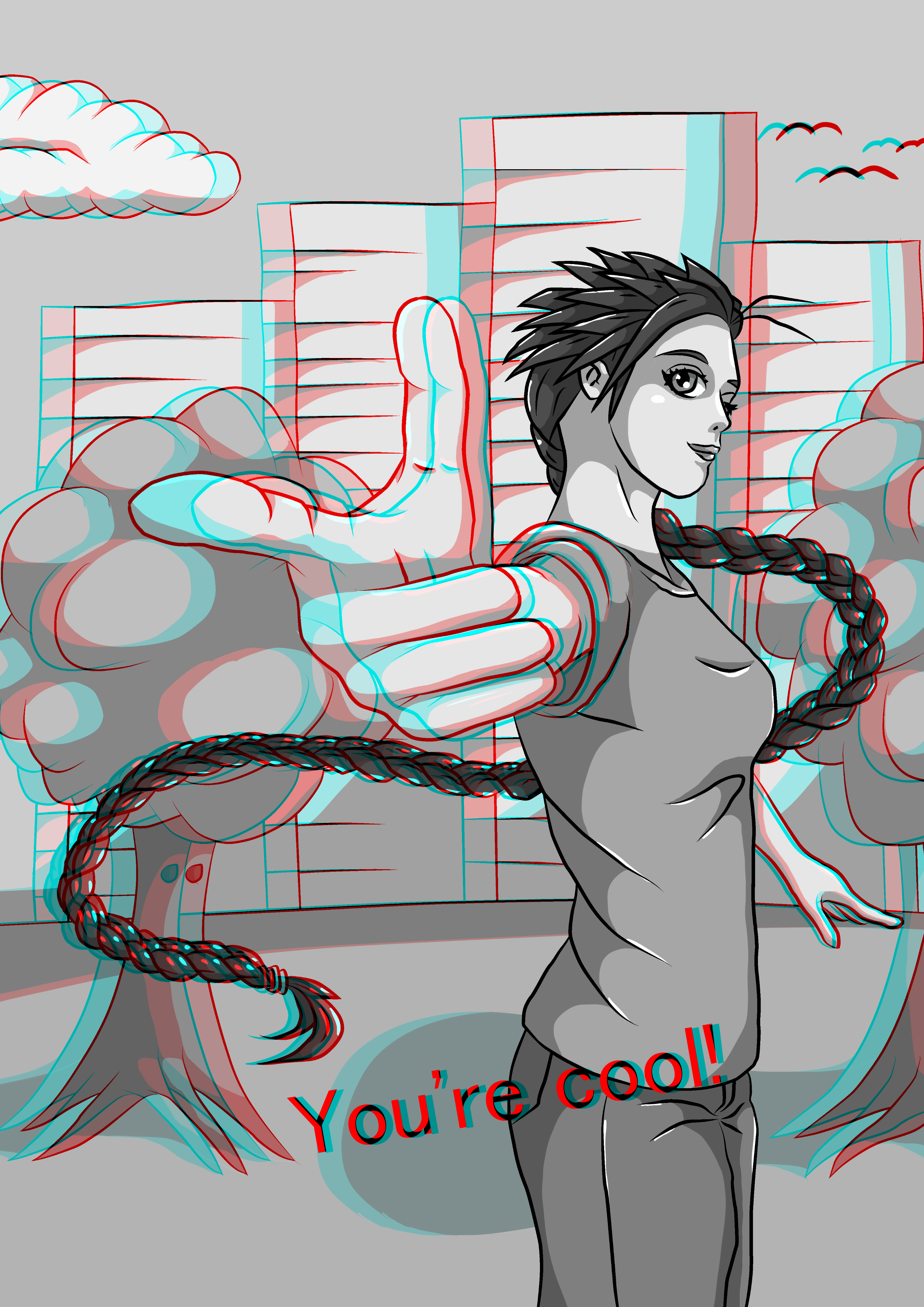 You're cool! 3D anaglyph