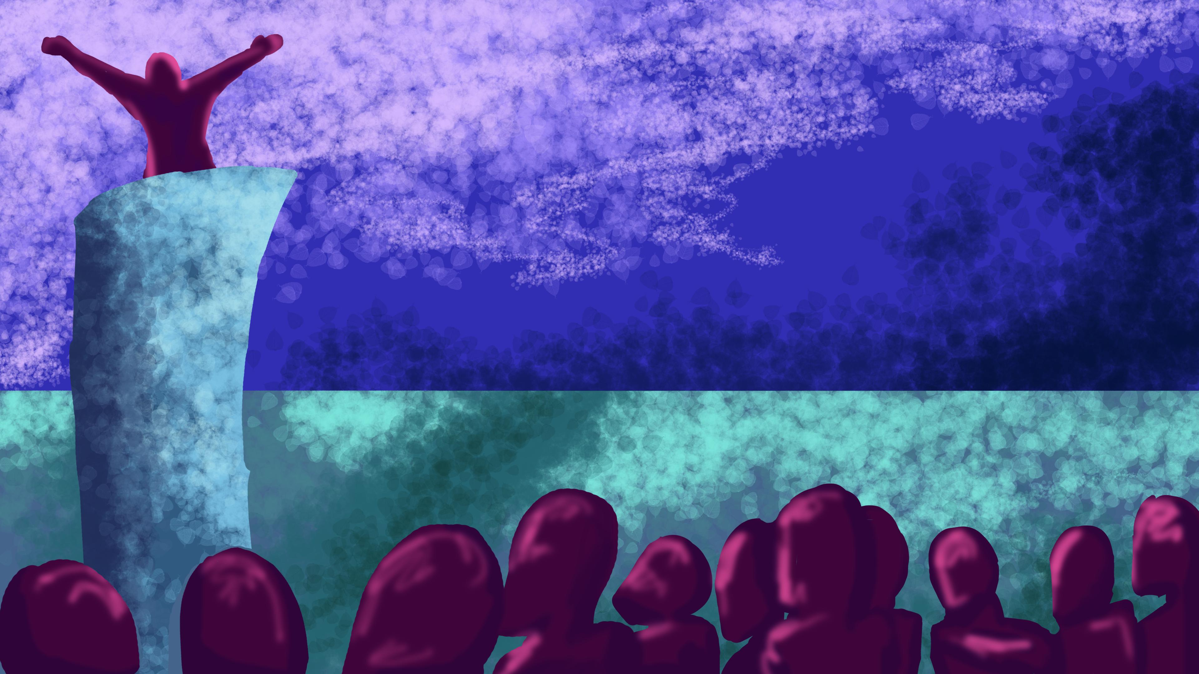 Public speaking gone purple.