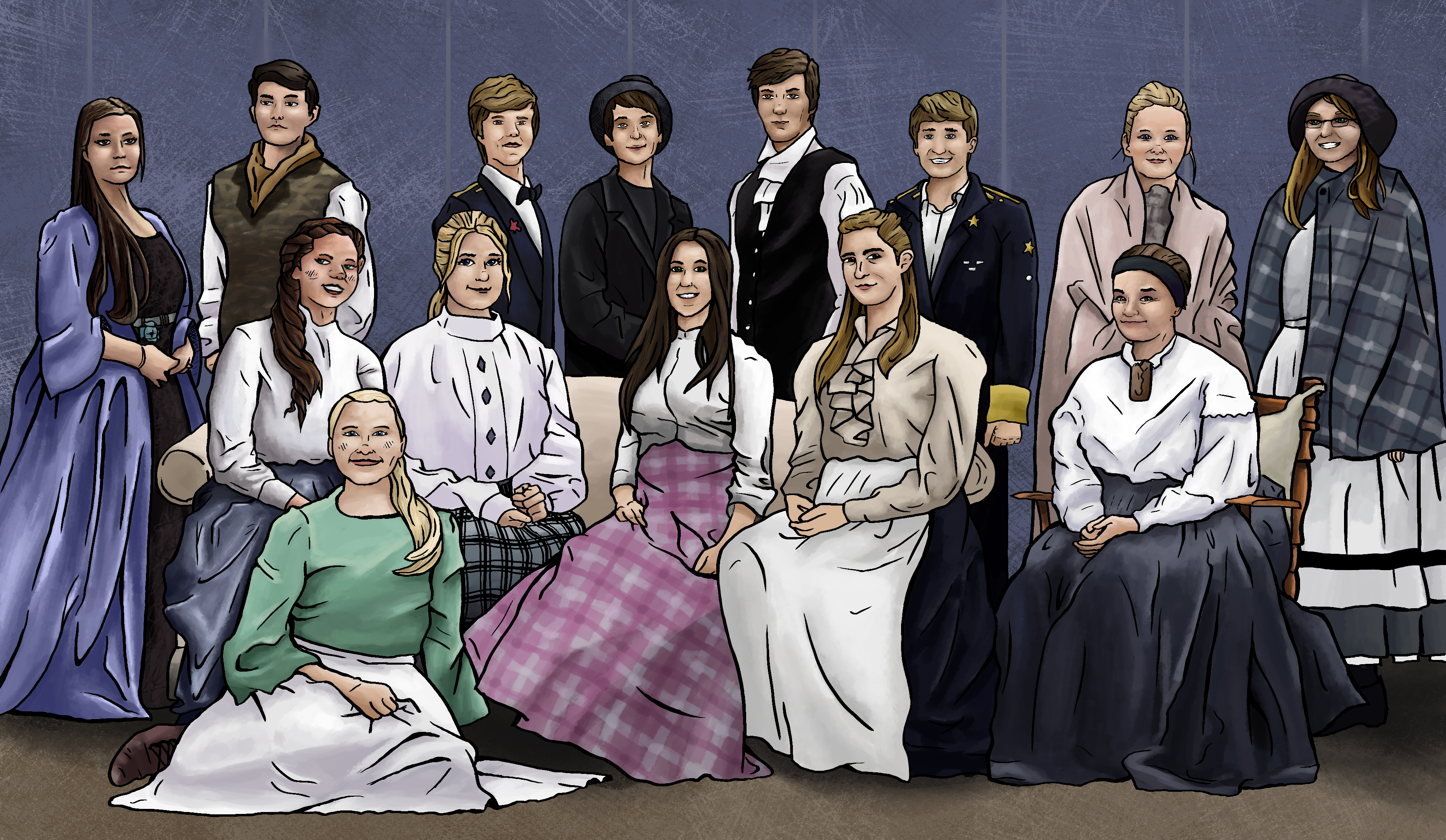 Little Women Stage Play Cast Photo Painting
