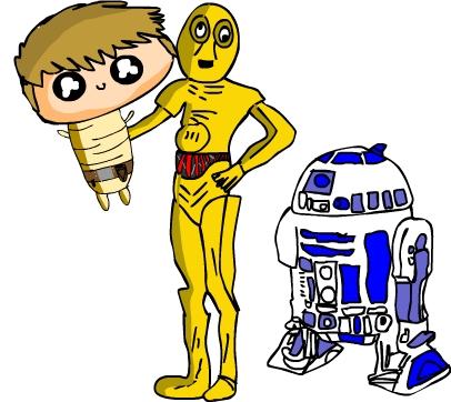Baby Luke R2-D2 And C3-PO
