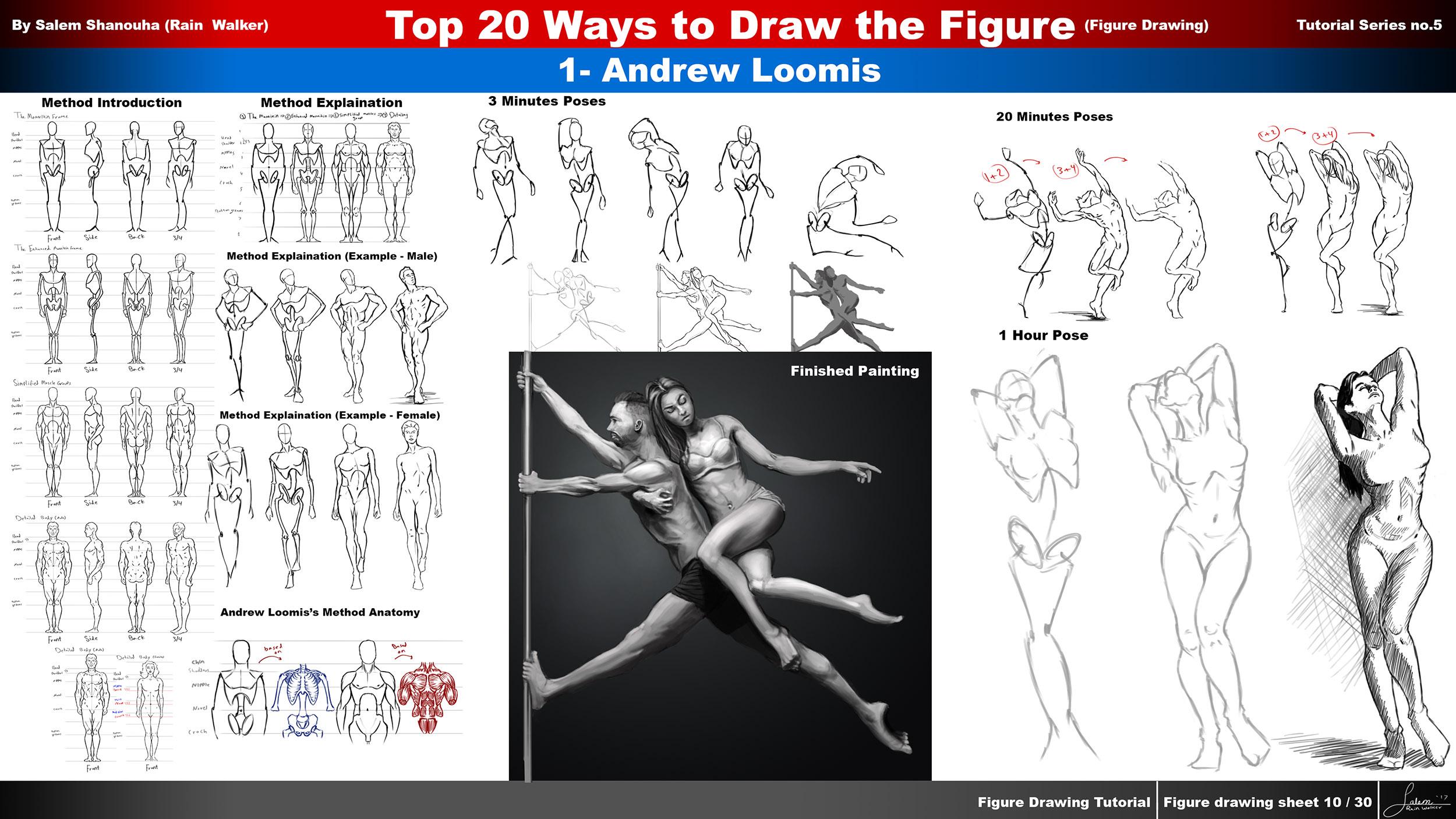 Top 20 Ways to Draw the Figure Tutorial Series (Ch.1 Andrew Loomis Method)