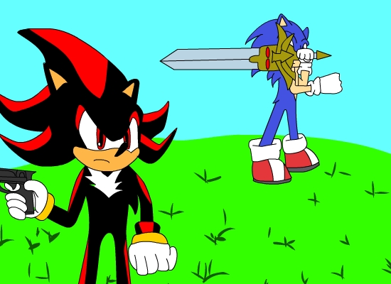 Sonic With Excalibur And Shadow With Pistol
