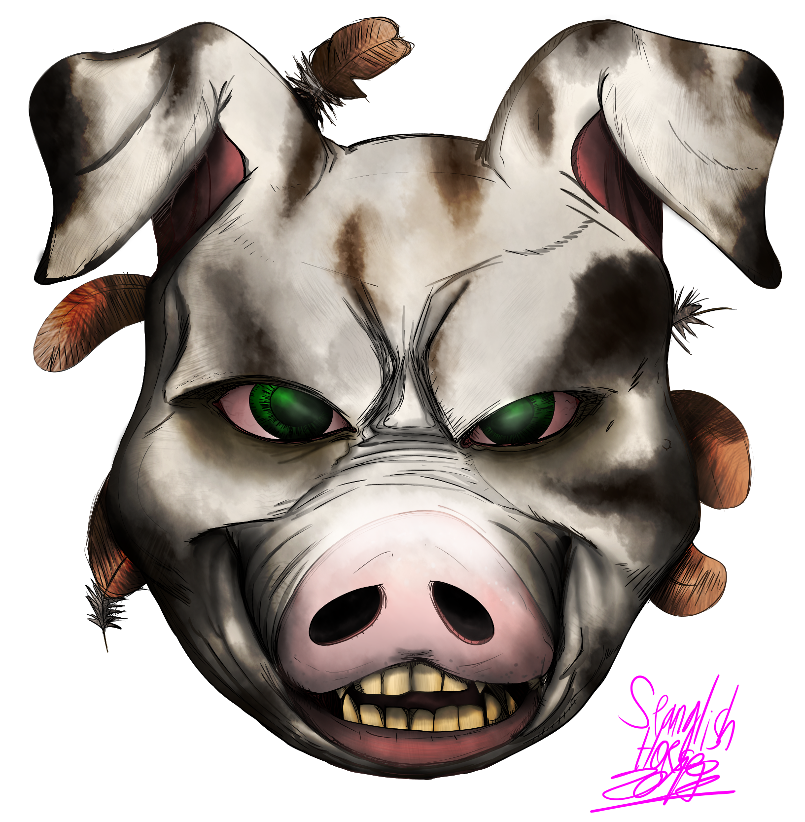(commission) creepy pig face for River 3 05 2017