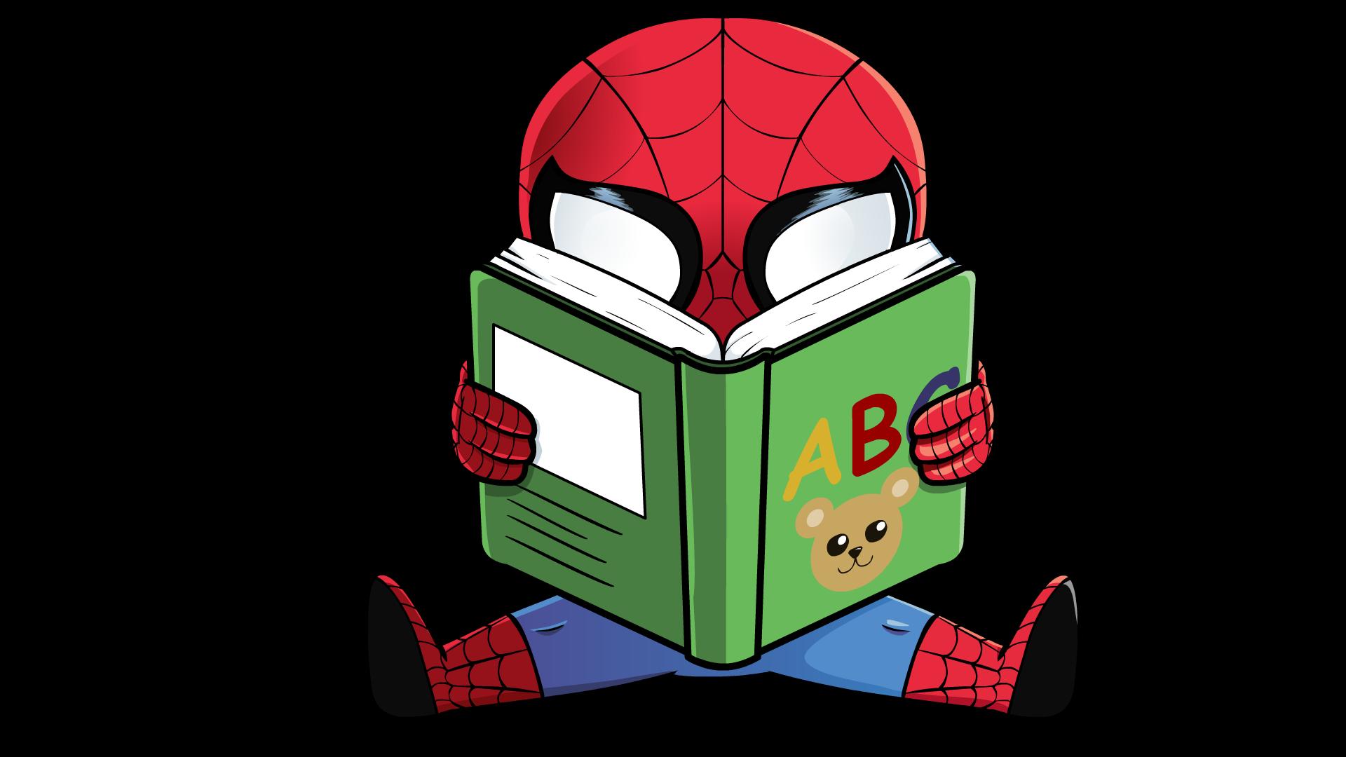 Spider-Man reading