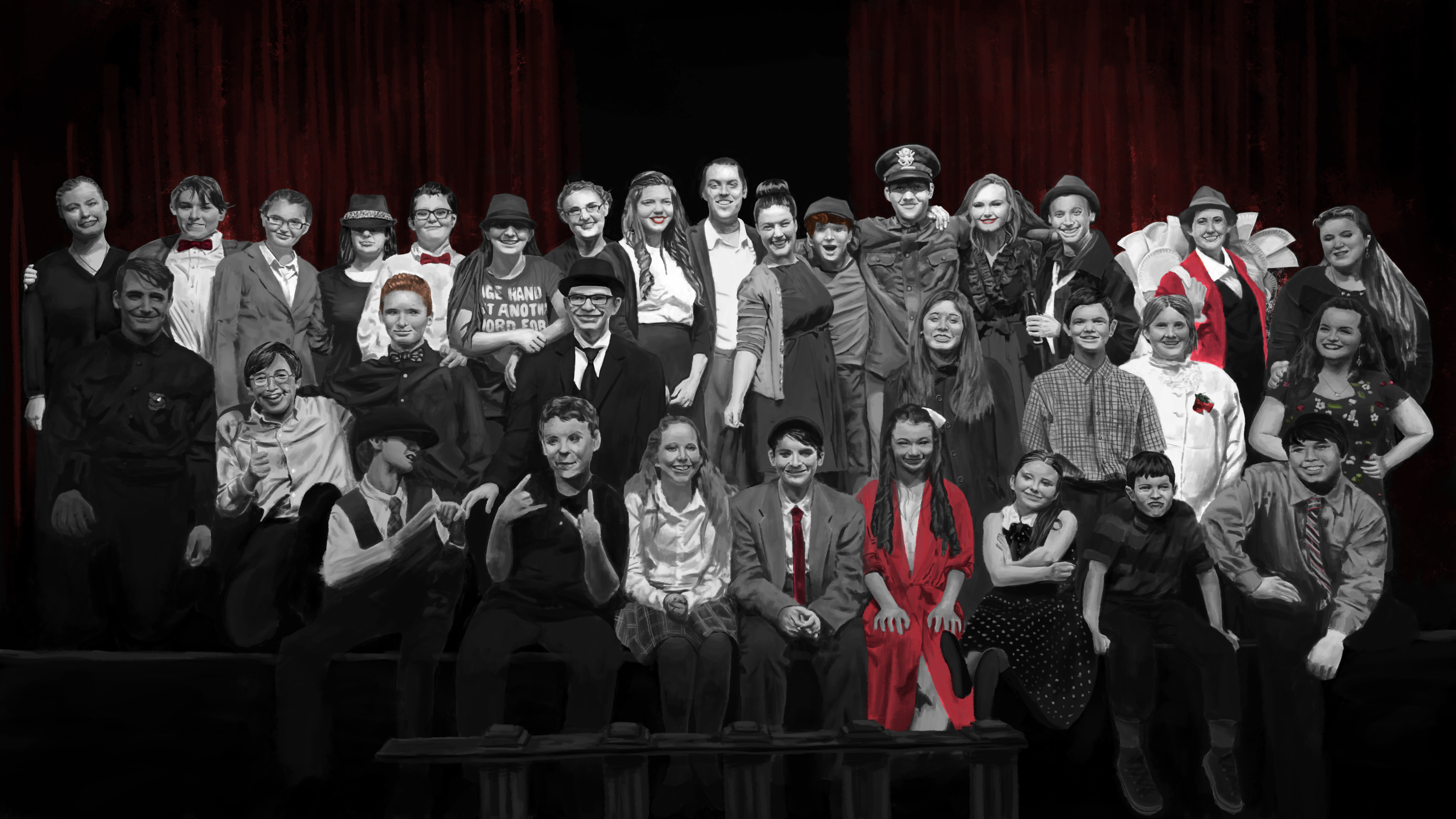 Painting of It's a Wonderful Life Cast Photo