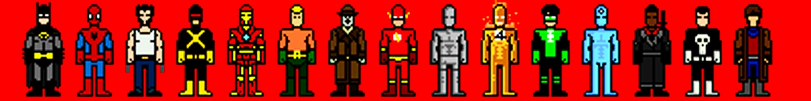 pixelated super heroes
