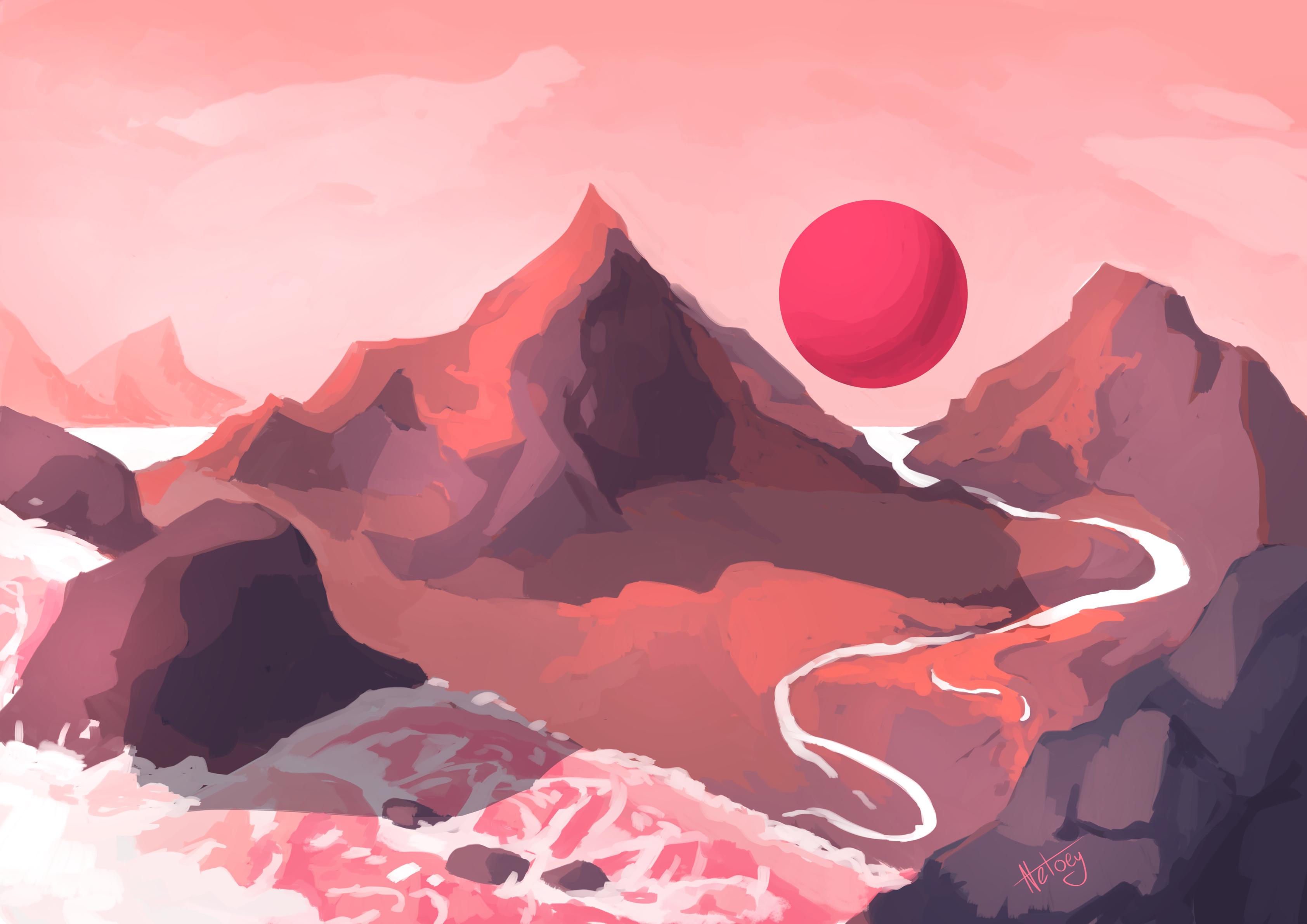 Rose coloured sky