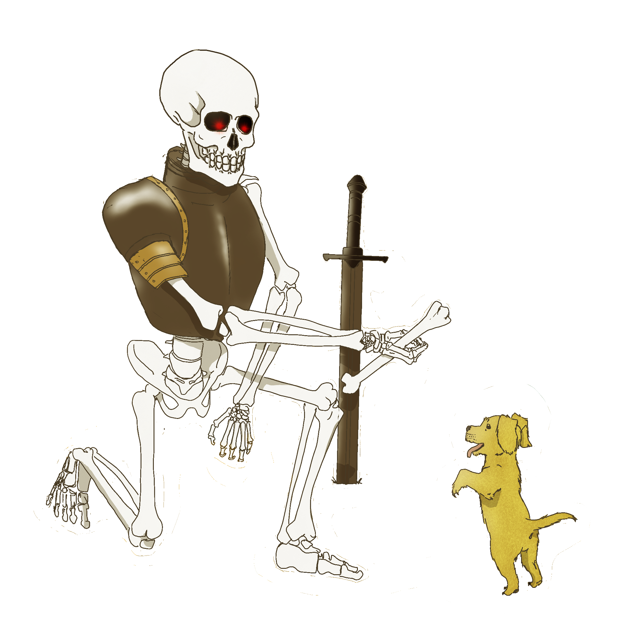 The Skeleton and puppy