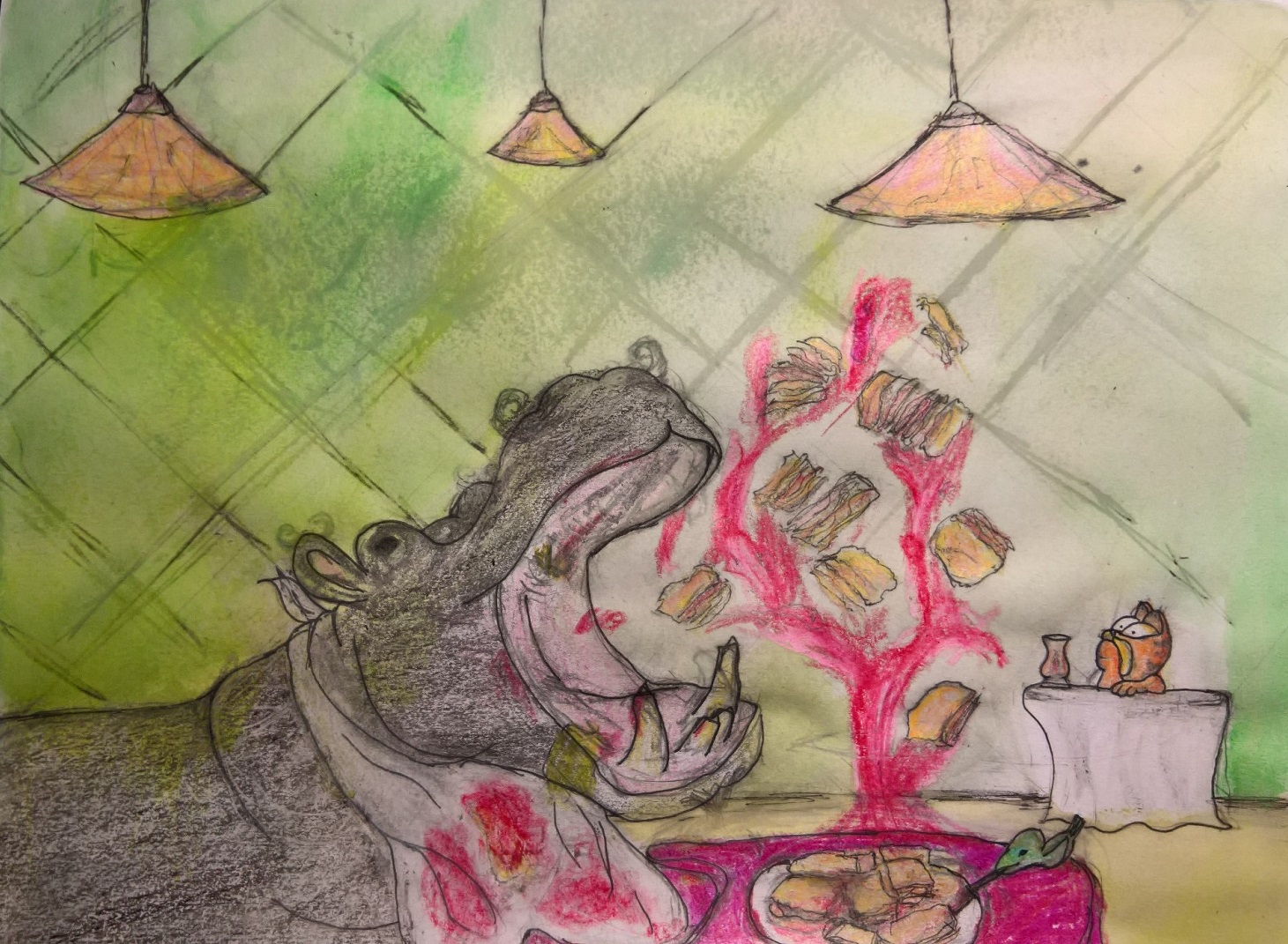 A Hippo Eating Lasagna
