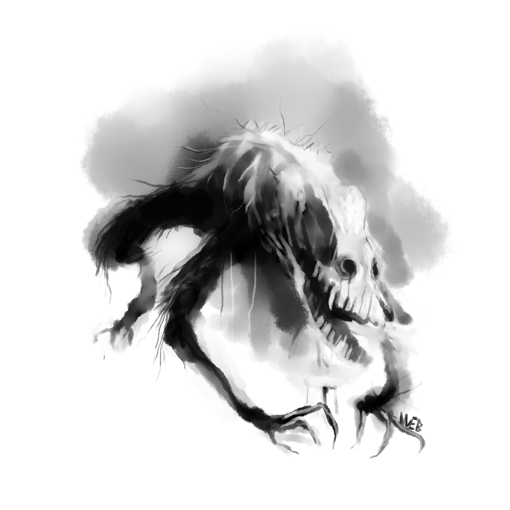 "Bloodborne in the ""Scary stories"" style: Scourge beast"