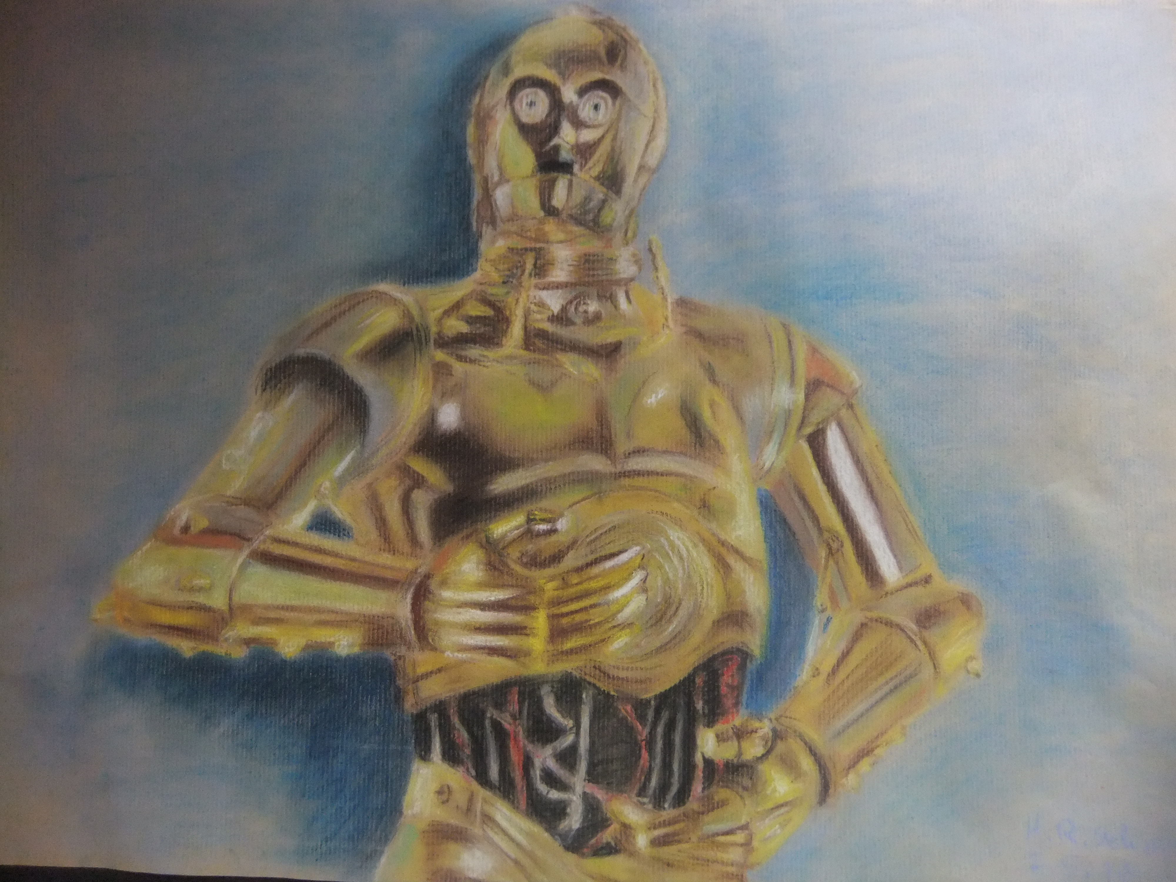 C-3PO pastel drawing