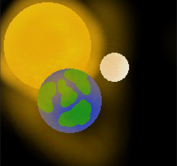 Sun Earth and Moon