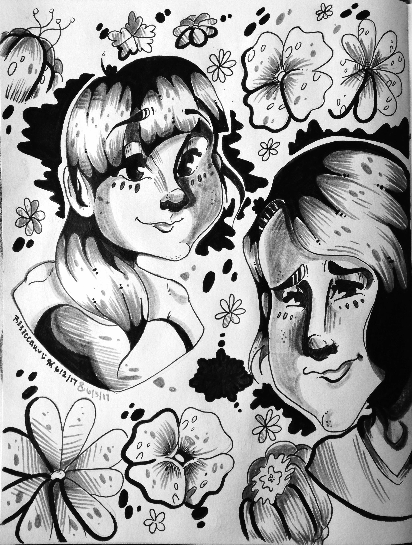 Flower Girls-Sketchbook Doodle