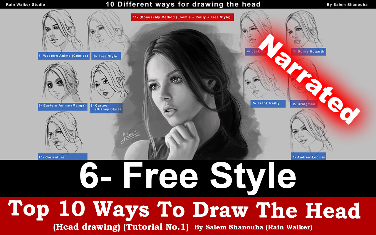 Top 10 ways to draw the head (Free Style) Narrated