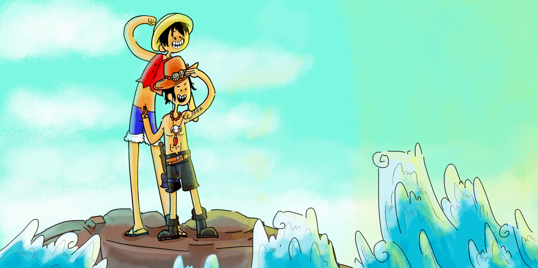 One piece characters in Adventure Time's style