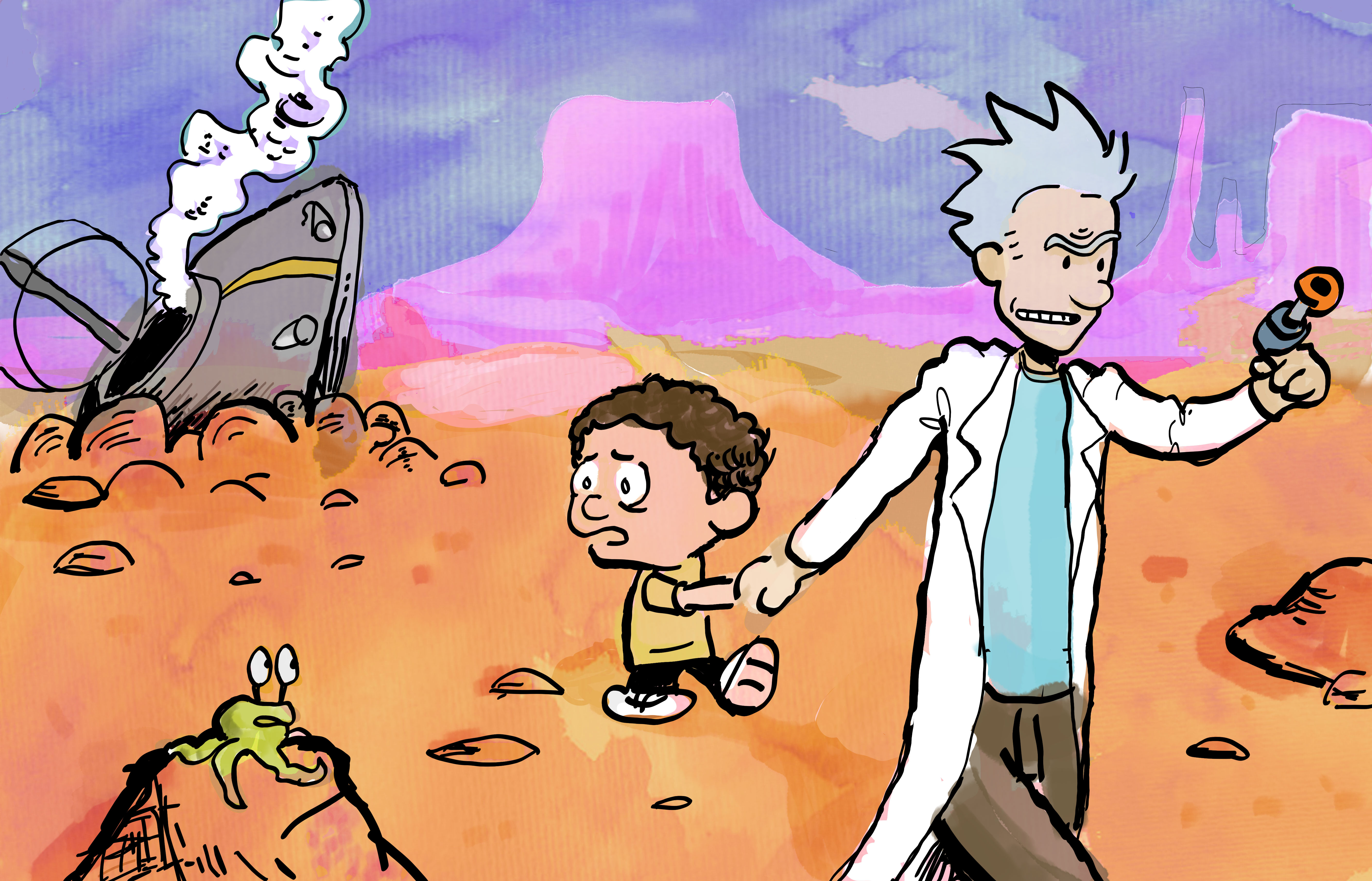 Calvin + Hobbes/ Rick and Morty (Style Swap)