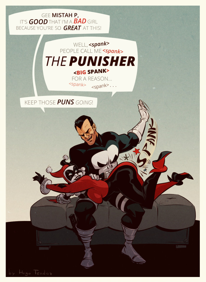 Harley Quinn and The Punisher - The Spankisher - Cartoon Pinup