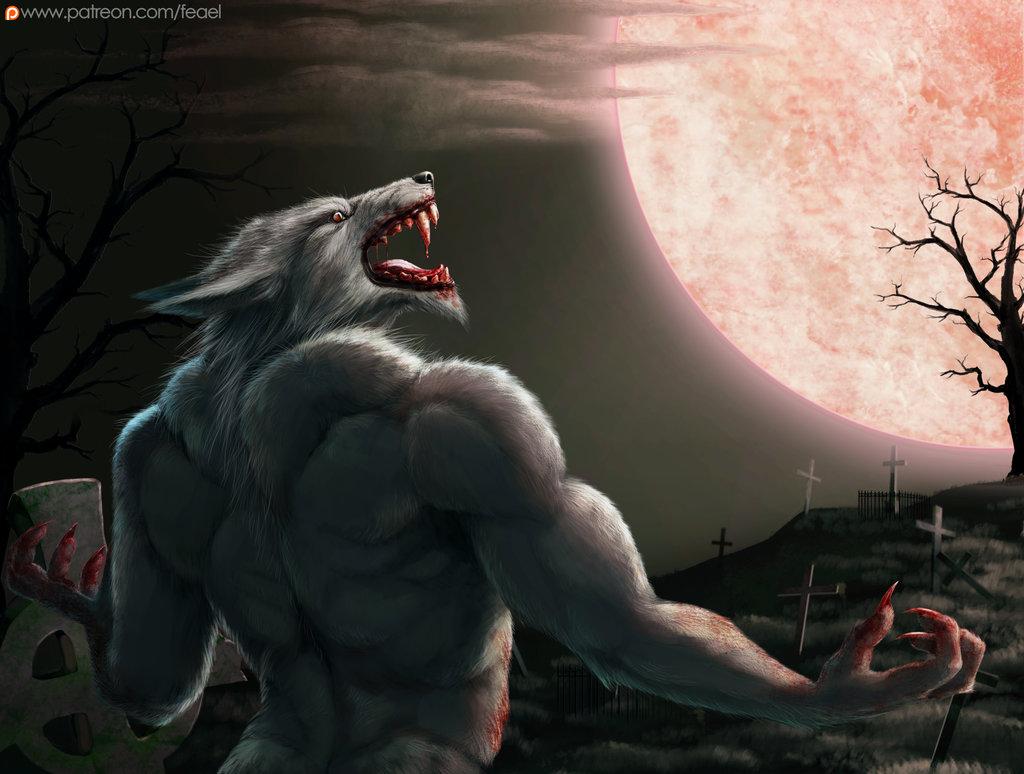 Werewolf and moon