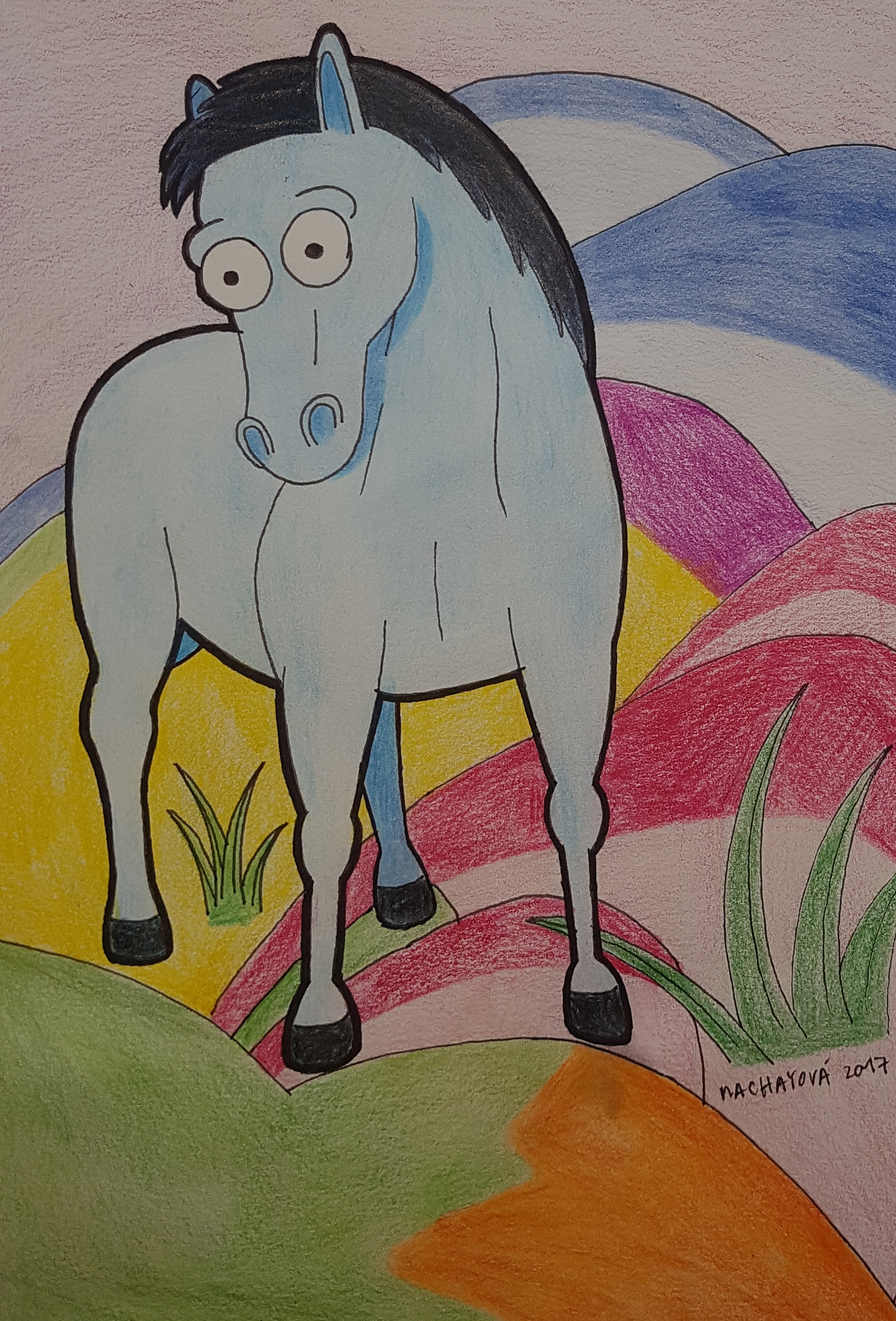 Blue Horse by Franz Marc in The Simpsons style