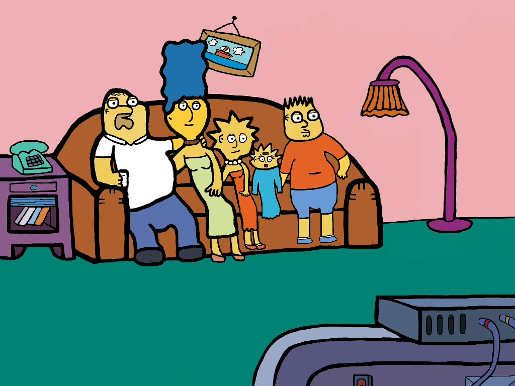Family Guy style Simpsons sitting on a couch.
