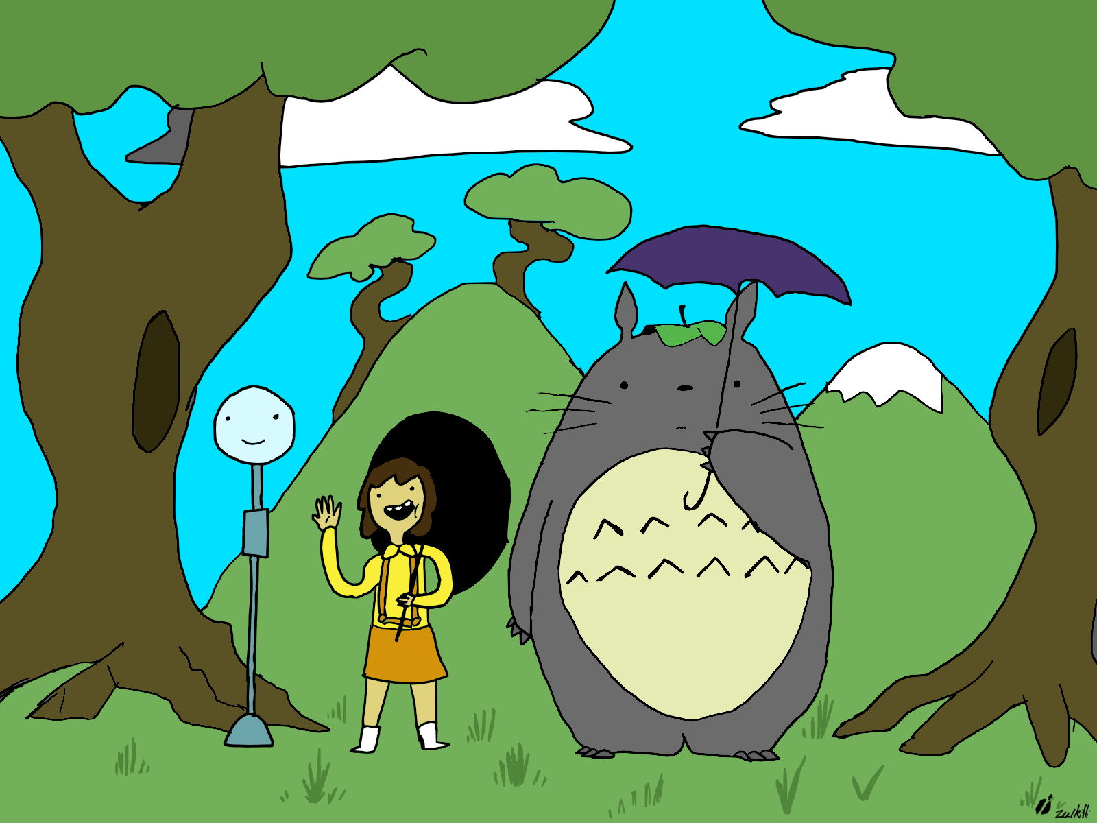 my neighbour totoro+adventure time... can't think of a witty title