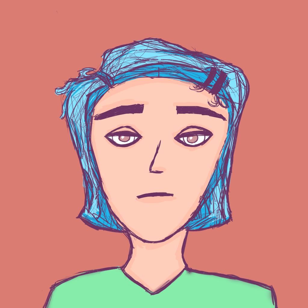 Blue Hair Green Shirt