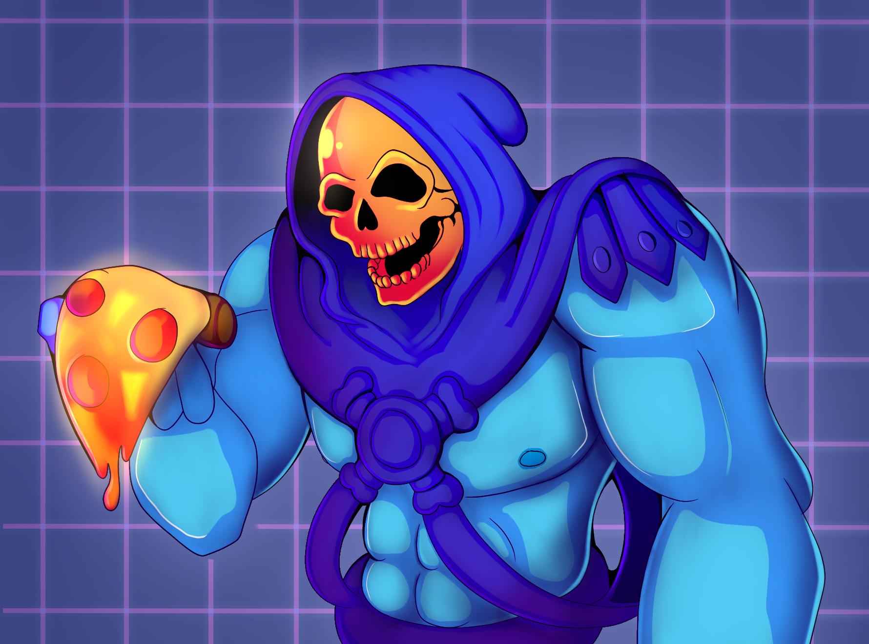 Skeletor's neon pizza