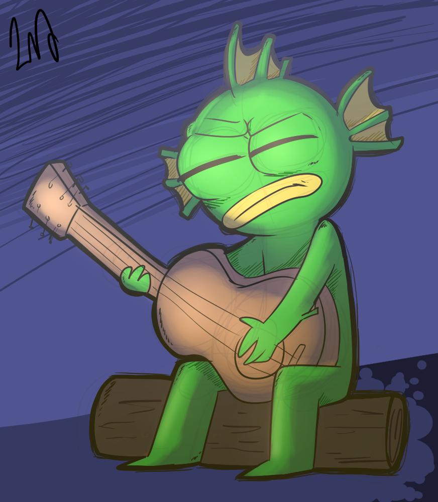 A fish near a firecamp (Sketch)