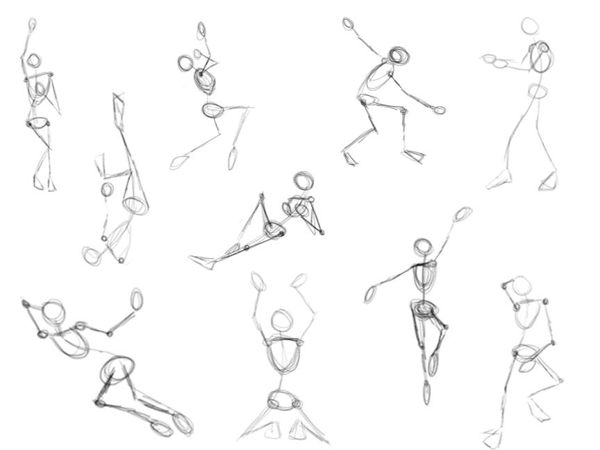 One minute gesture drawings