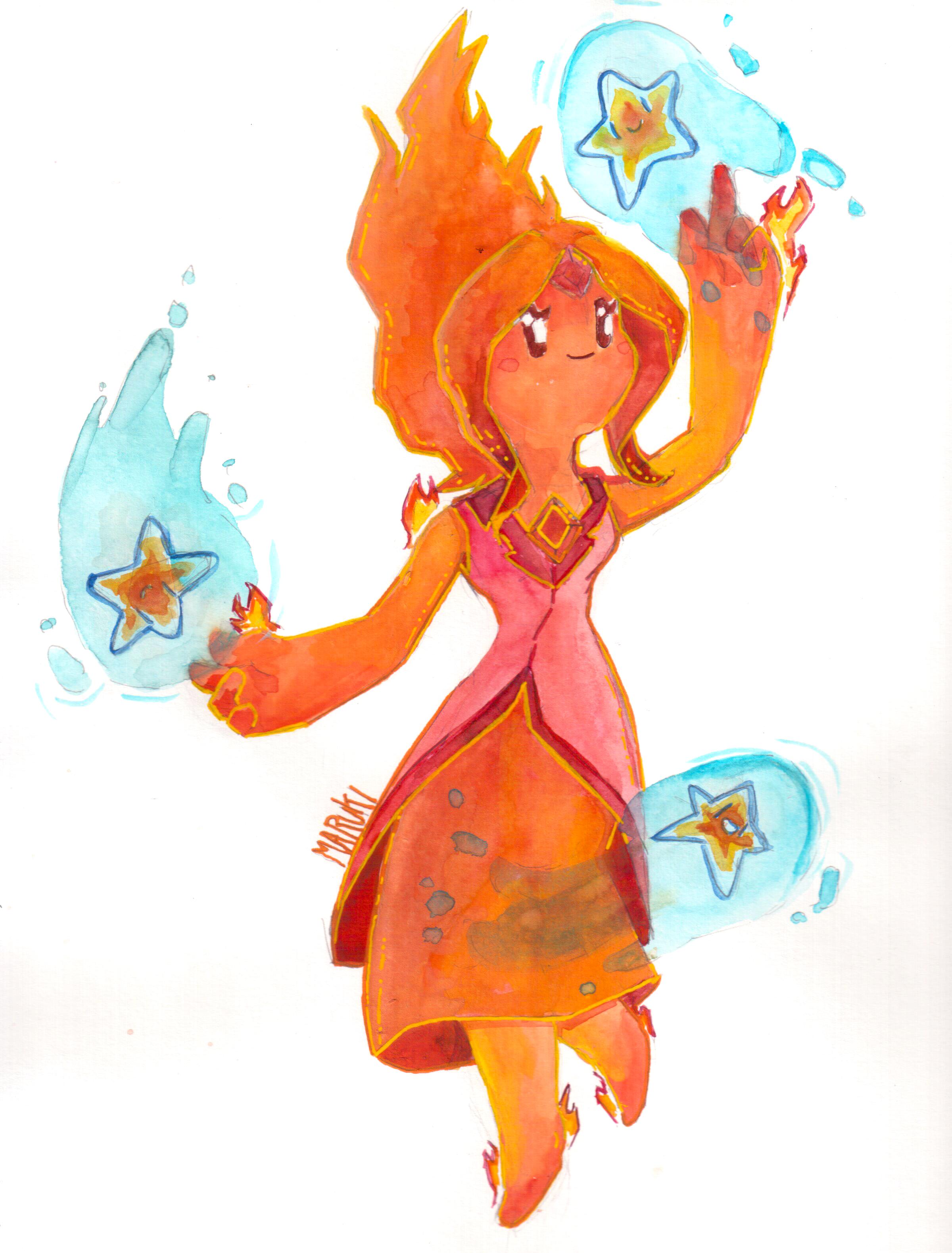 Flame Princess Watercolor