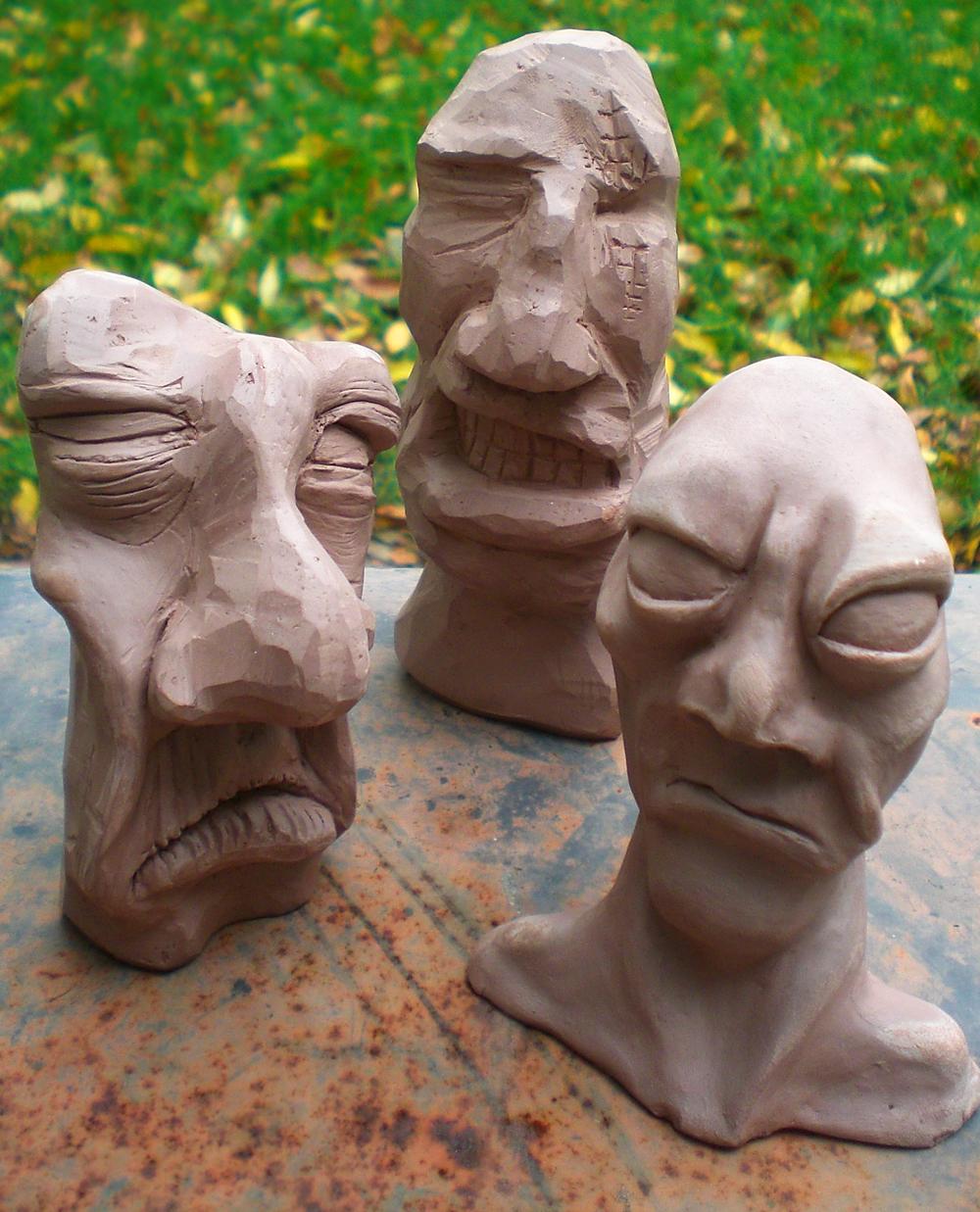 3 Clay Heads