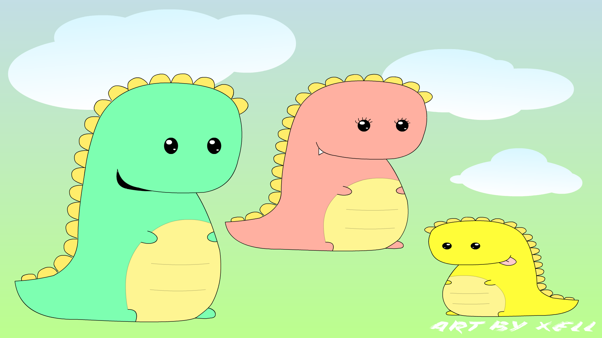 Dino Family Wallpaper ( Bust-A-Move Style) 1080p