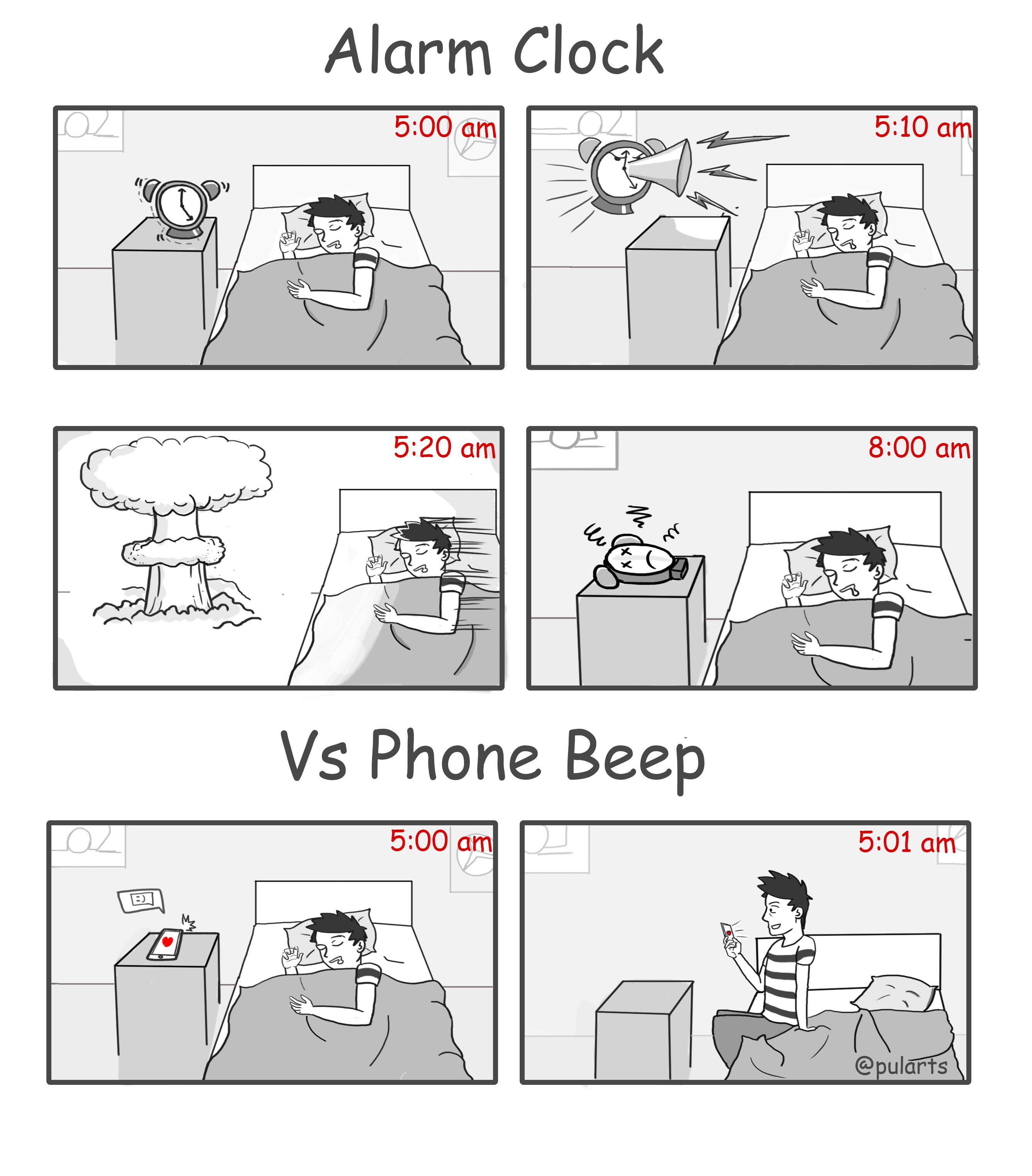 Alarm vs phone beep