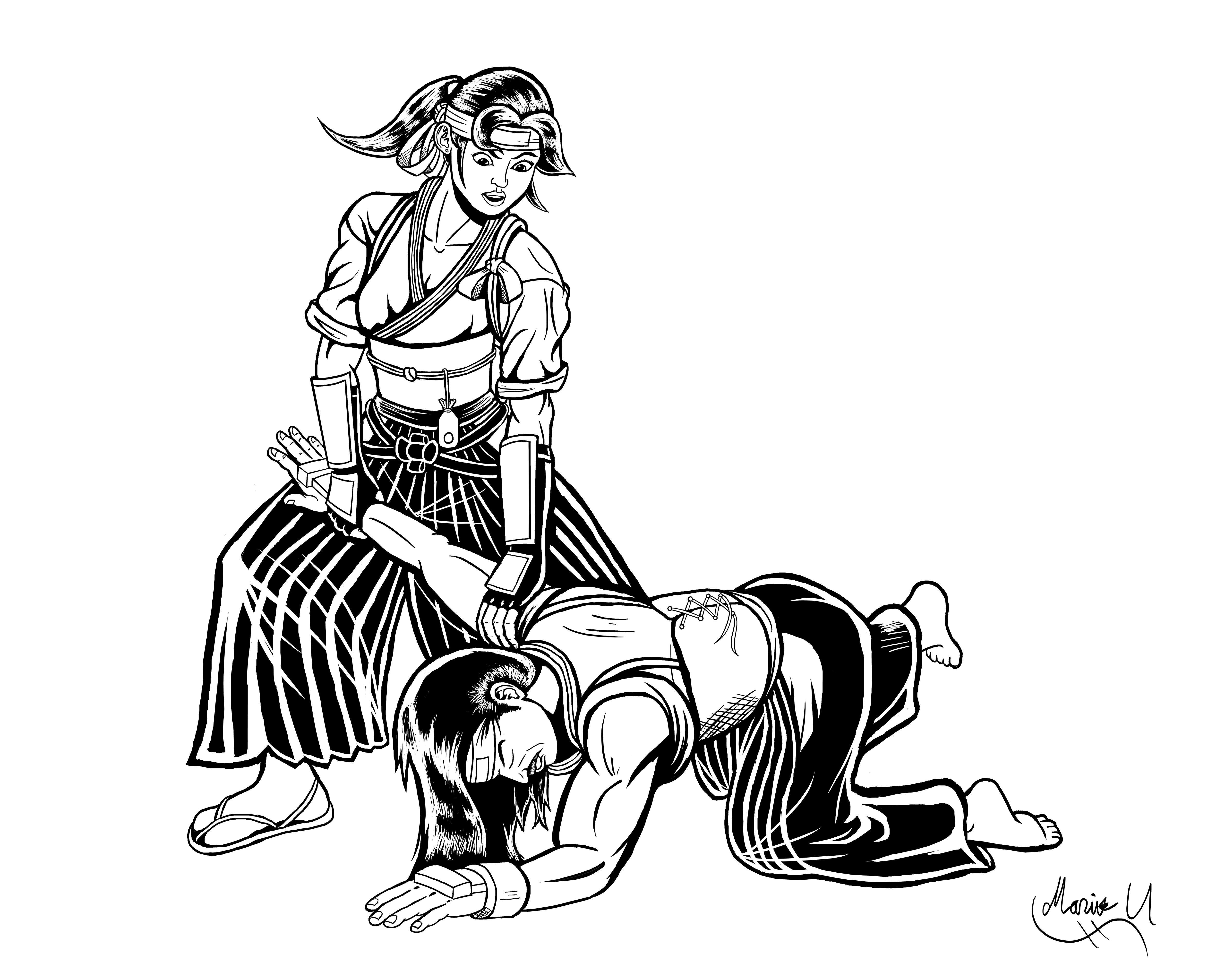 Kasumi practicing Ikkyo with her father Inked