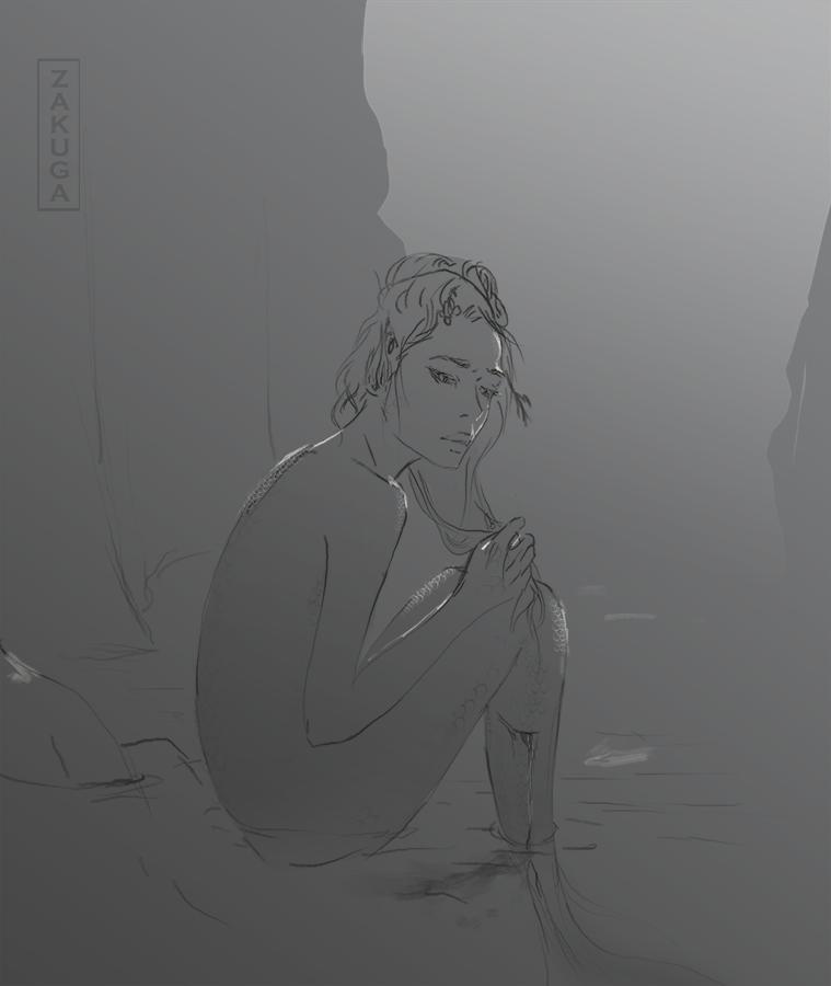 injured mermaid, rough sketch.