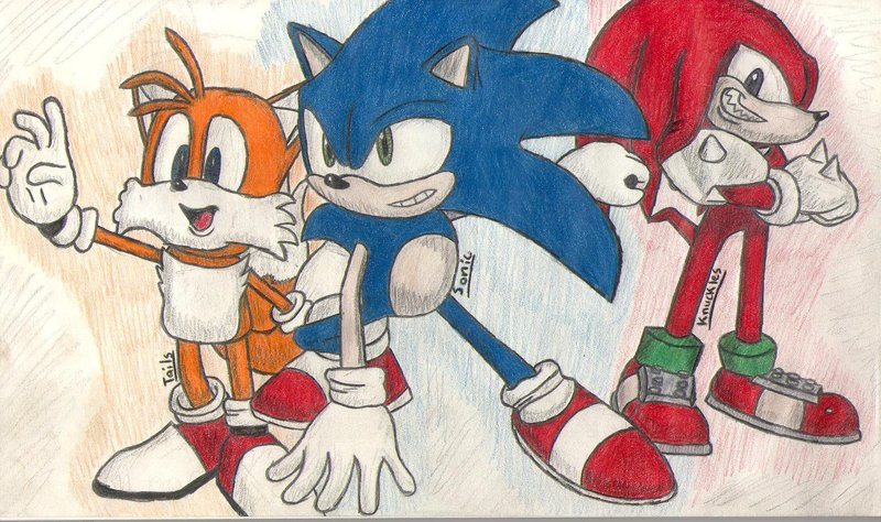 Tails, Sonic, and Knuckles