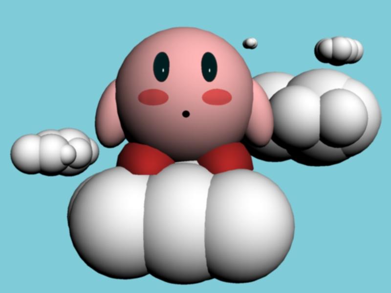 Kirby on a cloud