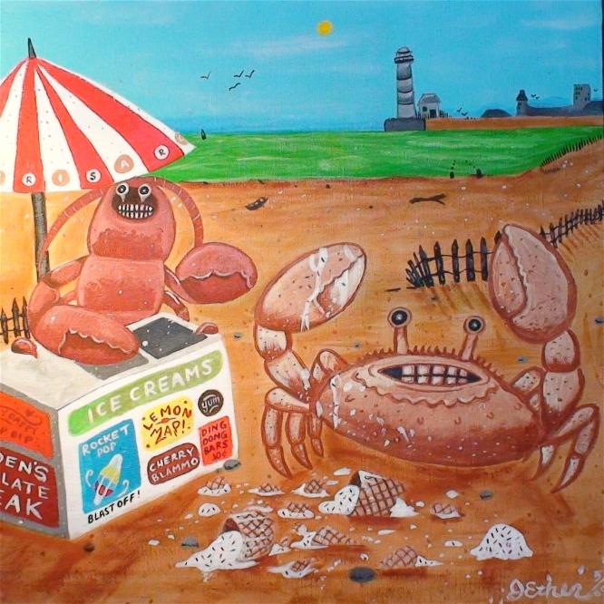 Crab and ice cream cone