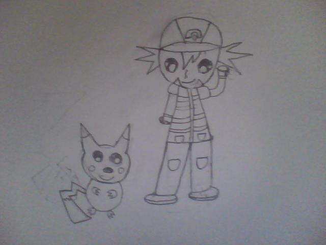 Chibi Ash with Pikachu