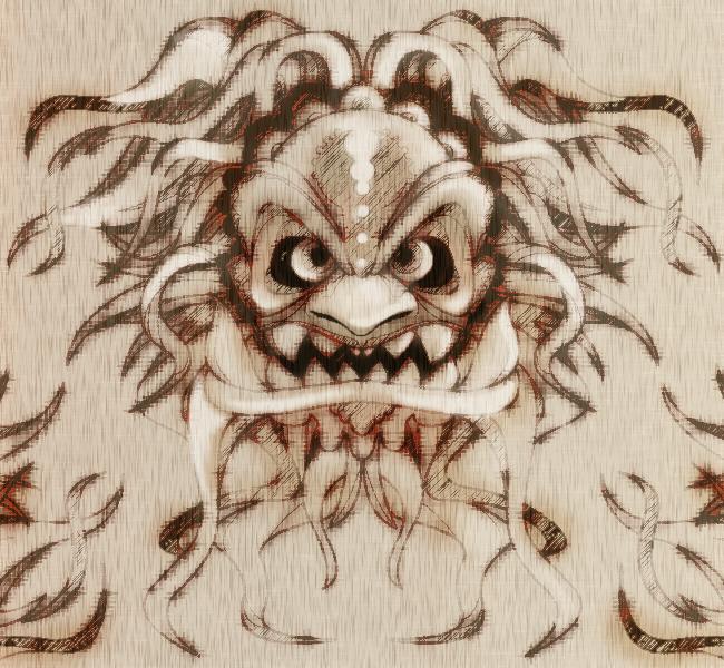 Oriental Mask Tattoo