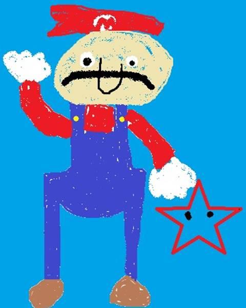 Mario jumping toward a star