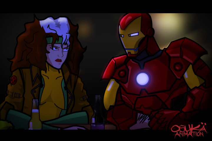 Rogue and IronMan in the Bar