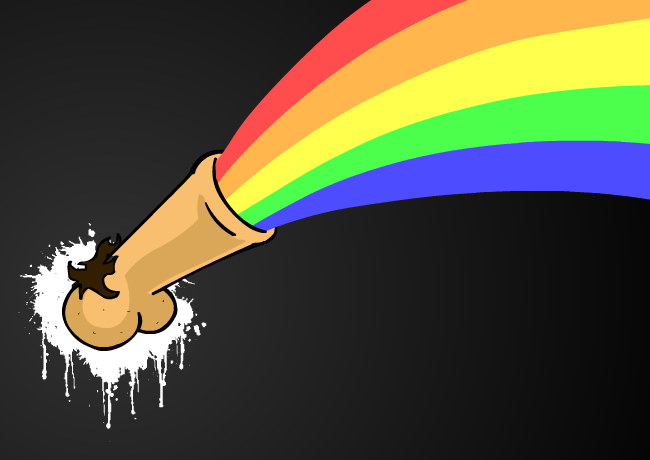 A penis vomitting a rainbow